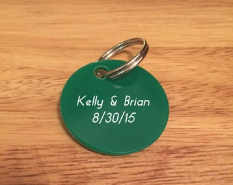 200 Personalized Keychains / Custom Plastic Key Rings Imprinted for Wedding, Bridal Shower Favor, Party Favor / Key Chains for Events