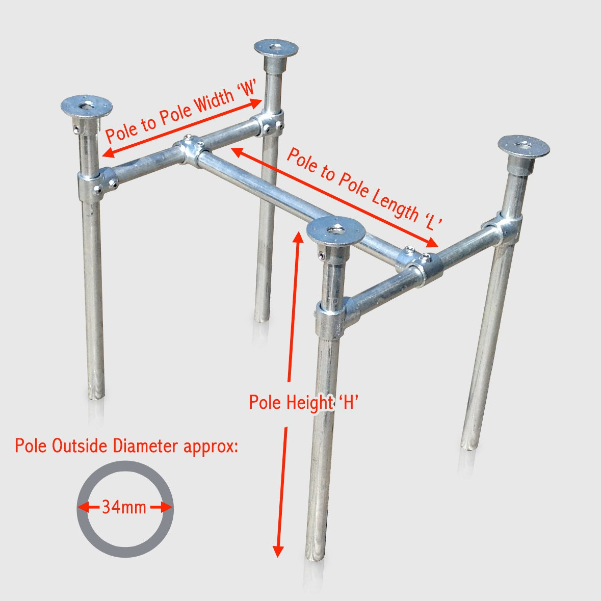 Table Leg Frame Made To Measure In Metal Scaffold Pipe