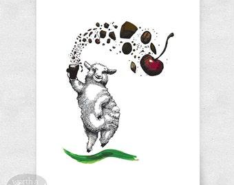 Wall Art, Bar Art, Illustration / 8x10 Print