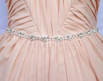 Thin Bridal Belt Bridesmaids Belt Thin Rhinestone belt All around beaded sash Rhinestone headband Thin beaded belt Wedding sash belt