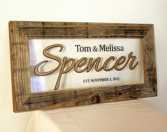 Custom Family Name Sign. Custom Signs. Reclaimed Wood Frame. Family Established Sign. Rustic Sign. Wedding Gift. Personalized Frame. 20x10