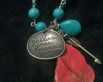 Turquoise Jasper Follow Your Arrow Sundance Style Rustic Boho Pendant Necklace