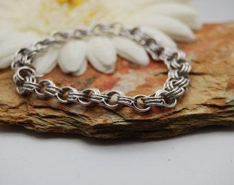 Triple Link Rolo Sterling Silver Bracelet