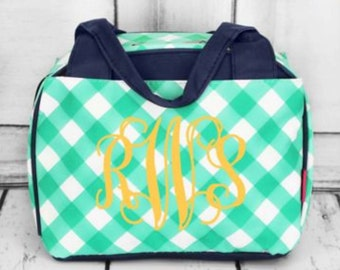 Gingham insulated bowler style lunch bag