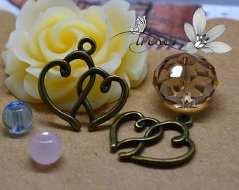 QKA205 19x20mm bronze pendant Love Heart charms love