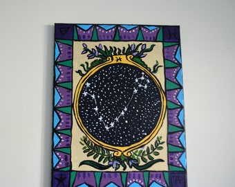 Pisces constellation garden tarot painting
