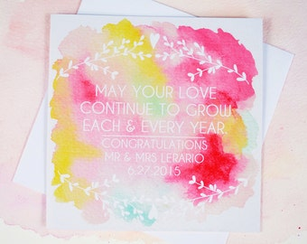 Personalised Wedding Card - Congratulations - Mr & Mrs - Watercolour - Free UK Shipping!