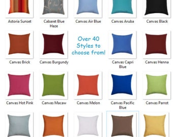 Outdoor Sunbrella Pillow Cover, Solid Navy Pillow, Sunbrella Decorative Throw Pillow Cover with Zipper, Any Size, Hot Pink, White, Parrot