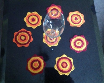 Set of 8 crochet handmade coasters