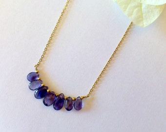 Iolite necklace with iolite teardrop briolettes ,iolite 14k yellow gold filled necklace,beaded necklace,gold iolite necklace
