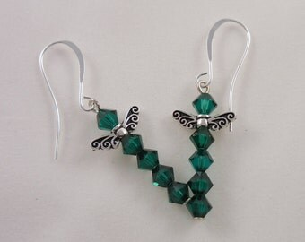 Steampunk Emerald Swarovski Dragonfly Earrings Dragon Fly Jewelry
