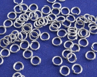 100 pcs- 5mm 20g Silver Plate Jump Rings, Silver Jumpring, Open Jump Ring- SP-B16976