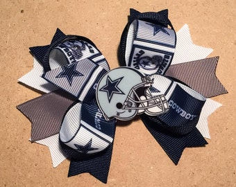 Dallas Cowboys Hair Bow - Stacked Boutique Bow with Helmet Embellishment Attached to Partially Lined Clip - Girls, Baby, Toddler, Women