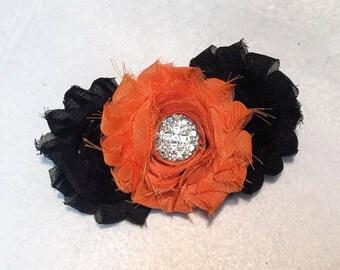 Orange & Black Shabby Hair Bow on French Barrette Clip - Orange Black Shabby Flowers w Sparkle center Rhinestone Embellishment - Halloween