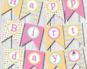 Printable Happy Birthday Banner - girl