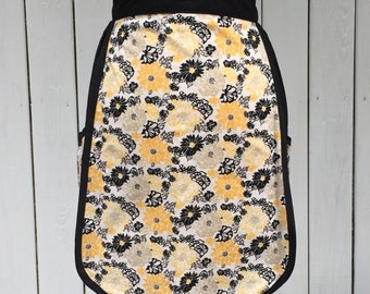Half Apron, Two Large Pockets, Black, Yellow, Gray and White cotton material, Housewarming Gift, Kitchen Accessory, Mother's Day Gift
