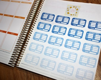 Calorie Tracker Stickers- Blue Ombre- Set of 40 planner stickers (037)