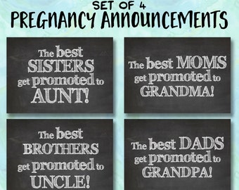 Set of 4 Pregnancy Announcement Printable INSTANT DOWNLOAD 5x7 Chalkboard Gift Art Print, Baby Shower Thank You for Sister, Mom, Dad