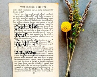 Motivational Quote, Stamped Vintage Book Page, Writer Gift, Type Writer Font, Vintage Book Page, Vintage Wall Art, Vintage Page Art,