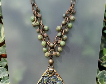 Green and Brown Ceramic Pendant Necklace and Earring Set