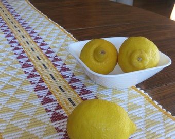 Handwoven Cotton Table Runner in Yellow, White and Red