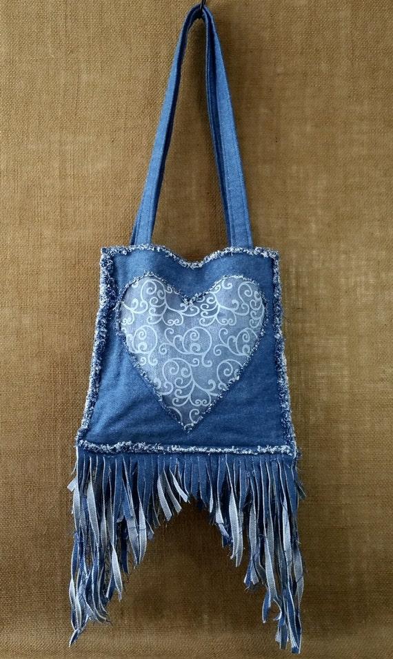 Denim Fringe Purse Handmade from Recycled Blue Jean Denim