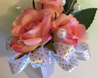 Pink Rose Corsage, Bridal Shower Corsage, Baby Shower Corsage, Birthday Corsage, Mom