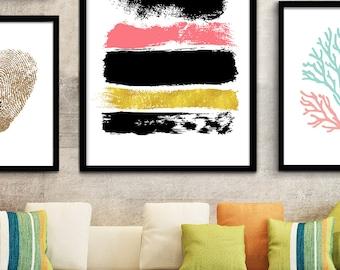 Coral Modern Art Print, Office Art, Home Office Decor, Home Office Prints, Home Office Printable, Home Office Wall Art, Home Office Poster