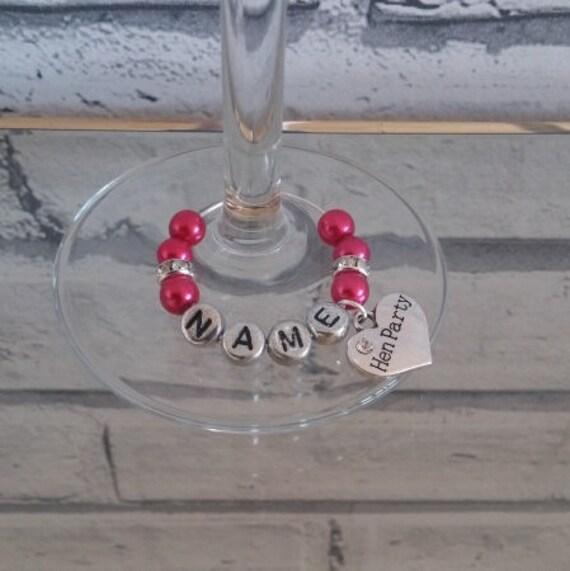 Personalised Wedding Wine Glass Charms : Deep Pink & Sparkle Personalised Wedding Wine Glass Charms - Buy 3 Get ...