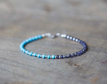 Turquoise & Iolite Bracelet, Sterling Silver or Gold Filled, Genuine Turquoise Gemstone Bracelet, Delicate Beaded Multi Gemstone Stacking