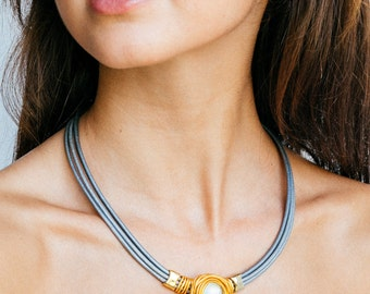 Gold And Silver Necklace, Bridesmaid Necklace, Leather Choker, Statement Necklace, Wedding Necklace, Wrapped Stone Necklace, Charm Necklace.