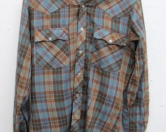 Vintage Country Western Shirt Chevalier Royale Men's S 14-14 1/2