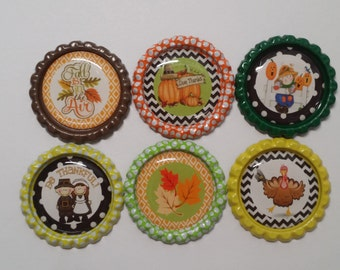 Set of 6 Cute Fall Thanksgiving Finished Bottle Caps