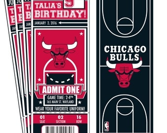 12 Chicago Bulls Custom Birthday Party Ticket Invitations - Officially Licensed by NBA