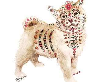 Sugar Skull Shiba Inu Dog Painting: Mixed media, Dia de los Muertos
