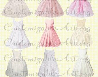 Wedding Dress Clipart Digital Bridal Bride Dress Wedding Party Flower Girl Dress Clip Art Prom Cute Girls Gown Dress Images Dresses Graphics