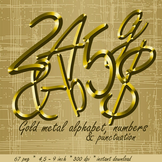 gold metal digital alphabet clipart golden shiny by lucyplanet With small gold metal letters