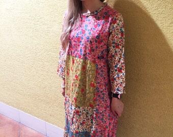 Vintage Floral Dress Retro Hippie Dress