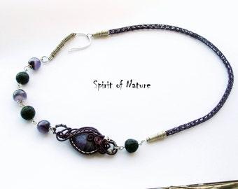 Purple viking knit necklace Viking knit jewelry Viking knit chain Amethyst lava necklace Silver wire wrapped necklace Purple boho necklace