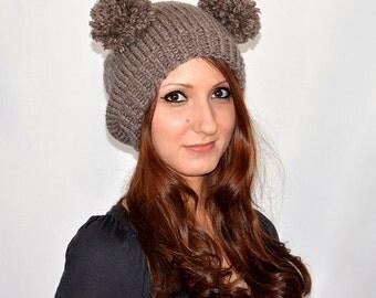 Bear Hat, Knit Bear Ear Hat or Bear Beanie, Womens Bear Hat, Bear Ears Hat