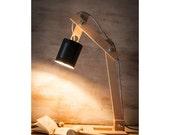 """Table lamps, lamps, lighting, desk lamps, wood desk lamp, lights, desk lamp, wood lamp, houseware, handmade lamp, lamp, """"Black square Earth"""""""