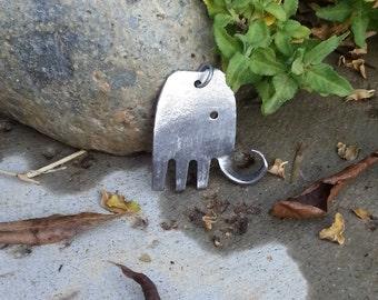 Stainless Steel Fork Elephant Pendant