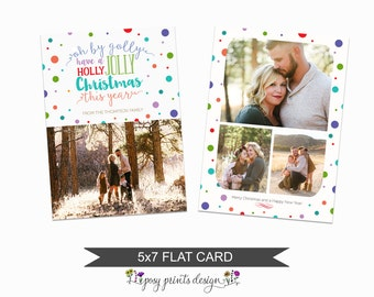 Christmas Card Template - 5x7 Photo Card - Photoshop Template - INSTANT DOWNLOAD or Printable - CC09