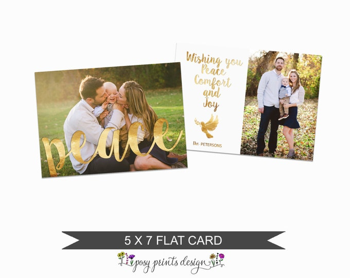 Christmas Card Template with Gold & Silver Options  - 5x7 Photo Card - Photoshop Template - INSTANT DOWNLOAD or Printable -CC21