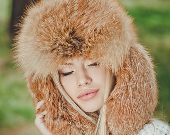 """Real fox fur hat """"Russian style"""""""