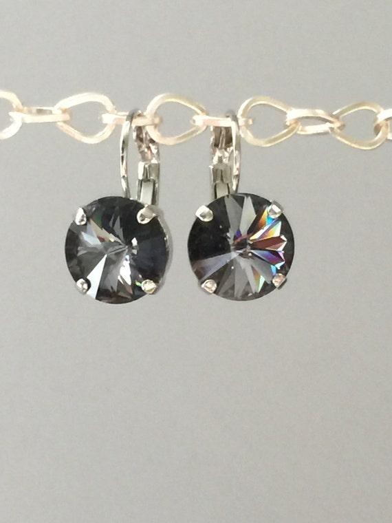 Crystal Silver Night Earrings, Swarovski Silver Night Earrings,  Crystal Silver Night Earrings, Swarovski Gray Crystal Earrings