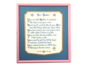 Vintage mother in law embroidery, motherhood poem, wedding gift, bridal gift for mother of the groom, embroidered poetry