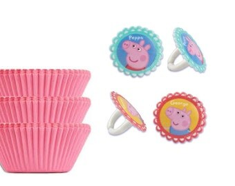 Peppa Pig Rings with 12 Pink Baking Cups