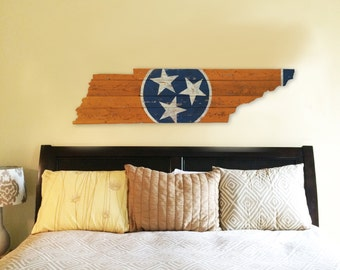 Tennessee-State Flag Wooden Cut Out - Full Orange
