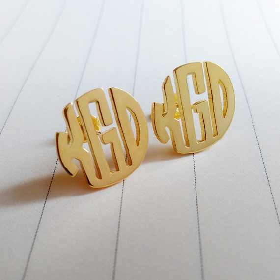 monogram stud gold earrings